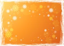 Snowflakes in the rays of light. Bright winter background.. Golden winter background. Snowfall and festive lights. Christmas background. New Year.Vector Stock Photo