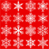 Snowflakes on red Royalty Free Stock Photography