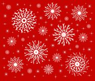 Snowflakes on red Stock Photo