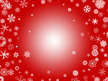 Snowflakes - red. White snowflakes on a red background Royalty Free Stock Photography