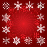 Snowflakes on red background Royalty Free Stock Photography