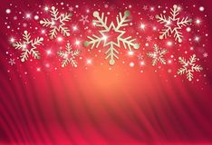 Snowflakes on a red background from a curtain, congratulations on merry christmas stock illustration