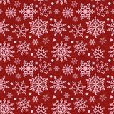 Snowflakes on red background seamless texture. Winter pattern with snowflakes on a red background. Vector, seamless texture Royalty Free Stock Images