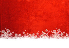 Snowflakes on Red Background Stock Images