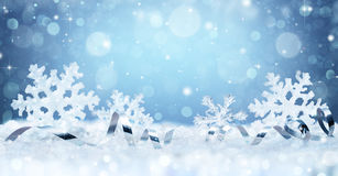 Snowflakes And Ribbon On Snow Stock Photo