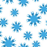 Snowflakes rock hand sign seamless pattern. Rock and roll winter background Royalty Free Stock Photography
