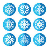 Snowflakes round blue icon set Royalty Free Stock Images