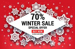 Snowflakes sale frame Royalty Free Stock Photo