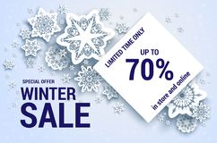 Snowflakes sale off banner Stock Image