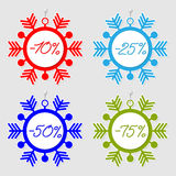 Snowflakes sale tags. Collection of snowflakes sale tags for your design royalty free illustration