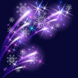 Snowflakes and salute. Christmas background with snowflakes and salute Stock Photo