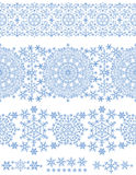 Snowflakes seamless border lace.Winter pattern Royalty Free Stock Photo