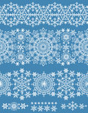 Snowflakes seamless border.Winter pattern lace Royalty Free Stock Image