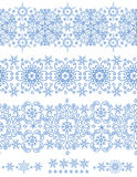 Snowflakes seamless border.Winter pattern Royalty Free Stock Photos