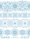 Snowflakes seamless borders set.Winter pattern Stock Photography