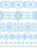 Snowflakes seamless borders,winter pattern set Royalty Free Stock Images