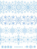 Snowflakes seamless borders.Winter pattern set Royalty Free Stock Images