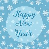 Snowflakes seamless Christmas pattern with Happy New Year text on blue background stock photos