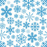 Snowflakes Seamless Pattern. A seamless pattern with blue snowflakes,  on white background. Eps file available Stock Image