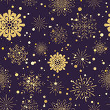 Snowflakes seamless pattern.Gold snowflakes  xmas abstract background Stock Photography