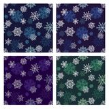 Snowflakes seamless pattern set Stock Photography