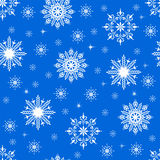 Snowflakes seamless pattern. Snow blue background Stock Photography