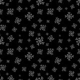 Snowflakes seamless vector pattern. Black christmas background with snow. Stock Photography