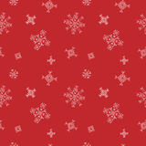 Snowflakes seamless vector pattern. Red snow christmas background for wrapper. Royalty Free Stock Images