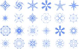 Snowflakes set. Illustration isolated over white Stock Image