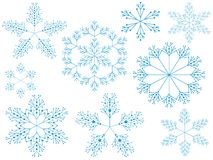 Snowflakes, set. Royalty Free Stock Photo