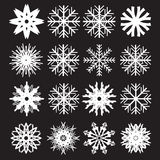 Snowflakes set on black background Stock Images