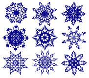 Snowflakes. Set blue snowflakes on a white background stock illustration