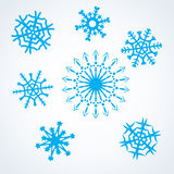 Snowflakes set. Set blue snowflakes. winter christmas symbol. vector Royalty Free Stock Images