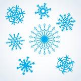 Snowflakes set. Set blue snowflakes. winter christmas symbol. vector stock illustration