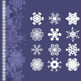 Snowflakes set for Christmas winter design Stock Images