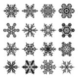 Snowflakes Set for Christmas and Winter Design - 16 Snow Crystal. Snowflakes Set with 16 Snow Crystals for Christmas and Winter Design in Black with White vector illustration