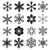 Snowflakes Set for Christmas and Winter Design - 16 Snow Crystals. Snowflakes Set with 16 Snow Crystals for Christmas and Winter Design in Black - Vector vector illustration