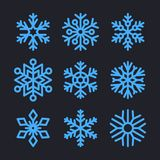 Snowflakes Set for christmas winter design. Vector Stock Photos