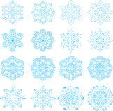 16 snowflakes set. Set of 16 different vector snowflakes stock illustration