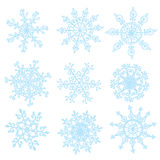 Snowflakes set funny design hand drawn Royalty Free Stock Image