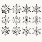 Snowflakes set with hand-drawn, doodle vector for christmas Stock Image