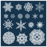 Snowflakes. Set of large, medium and small snowflakes Stock Images