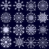 Snowflakes. A set of sixteen snowflakes royalty free illustration