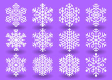 Snowflakes. Set of Twelve white decorative snowflakes.Vector geometric pattern Royalty Free Stock Image
