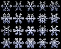 Snowflakes set of unusual icons. White snow flakes on a dark blue frosty background. Frozen ice crystal collection. Vector illustr. Ation Stock Photo