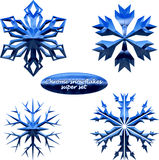 Snowflakes set. Vector chromed metal snowflakes Royalty Free Stock Photo