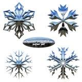 Snowflakes set. Vector chromed metal snowflakes Stock Photo