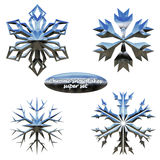 Snowflakes set. Vector chromed metal snowflakes. Snowflakes set. Vector illustration chromed metal snowflakes vector illustration