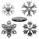 Snowflakes set. Vector chromed metal snowflakes. Snowflakes set. Vector illustration chromed metal snowflakes royalty free illustration