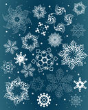 Snowflakes. A set of white snowflakes silhouettes Royalty Free Illustration